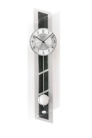 AMS 5217 Quartz Wandklok met Slinger zwart zilver glas