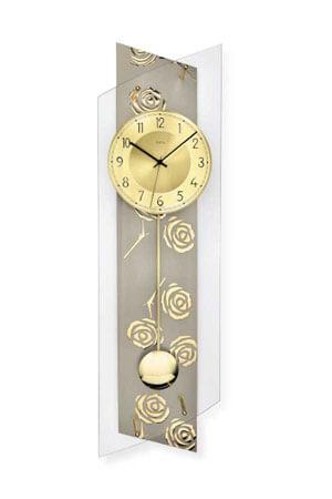 AMS 5223 Quartz Wandklok met Slinger grijs goud rozen
