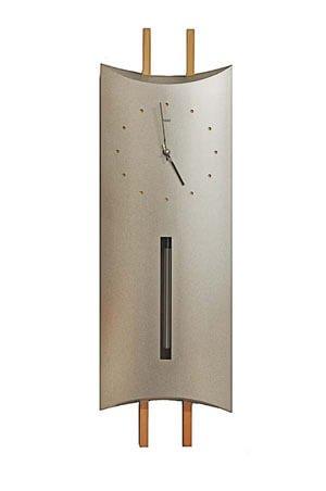 Quartz wandklok met slinger aluminium