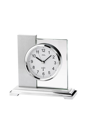 AMS 5140 tafelklok zilver en glas
